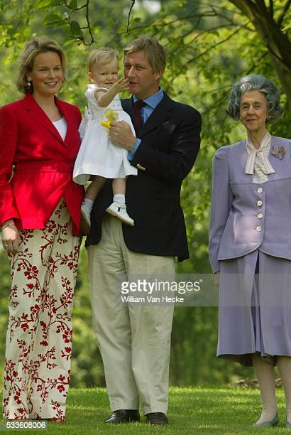 Queen Fabiola of Belgium Prince Philippe Princess Mathilde and Princess Elisabeth in the park of the Castle of Laeken