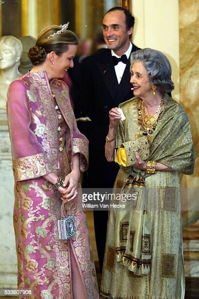 Queen Fabiola of Belgium Princess Mathilde and Prince Lorenz attend the dinner offered by Queen Margrethe of Denmark and Prince Consort Henrik during...