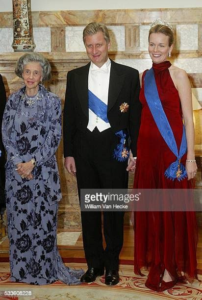 Queen Fabiola of Belgium Princess Mathilde and Prince Philippe attend the gala dinner on the occasion of the official visit of the Polish President...