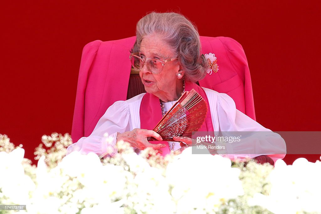 Queen Fabiola of Belgium seen during the Civil and Military Parade during the Abdication Of King Albert II Of Belgium, & Inauguration Of King Philippe on July 21, 2013 in Brussels, Belgium.