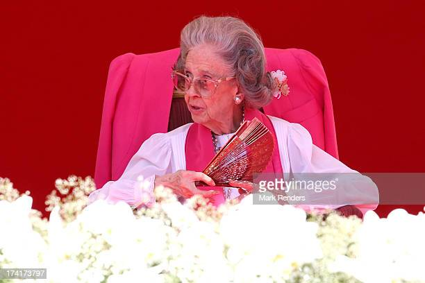 Queen Fabiola of Belgium seen during the Civil and Military Parade during the Abdication Of King Albert II Of Belgium Inauguration Of King Philippe...