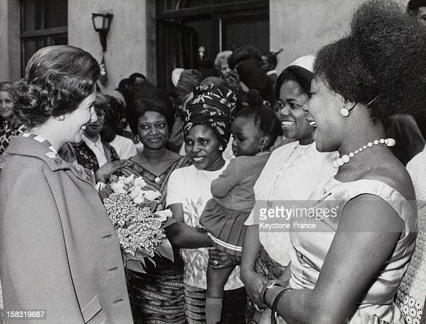 Queen Fabiola of Belgium visits the African House wich helps the overseas sudents in Brussels Belgium