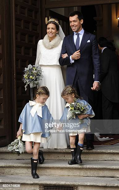 Queen Fabiola of Belgium's nephew Jose Escriva de Romani y MoralesArce gets married to Leticia Herrera y Pardo at Calatravas church on January 21...