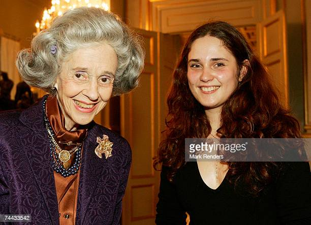 Queen Fabiola of the Belgian Royal family and 1st laureate of 'Concours Reine Elisabeth' Anna Vinnitskaya are seen at the European Festivals...