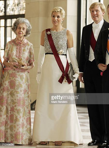 Queen Fabiola, Princess Maxima, Prince Alexander pose for a photo at Laken Castle before the gala dinneras part of the three-day during visit of...