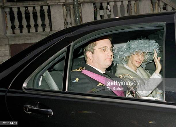 Queen Fabiola With Prince Laurent Arriving At The Town Hall For The Wedding Of The Crown Prince Of Belgium