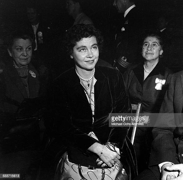 Queen Frederica of Greece waits to be introduced in Los Angeles,CA.