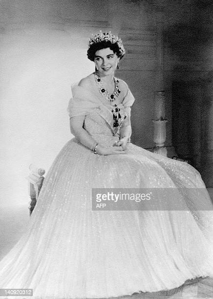 Queen Frederika of Greece poses in her wedding dress on January 1938 during her wedding with Prince Paul, Crown Prince of Greece. Frederika of...