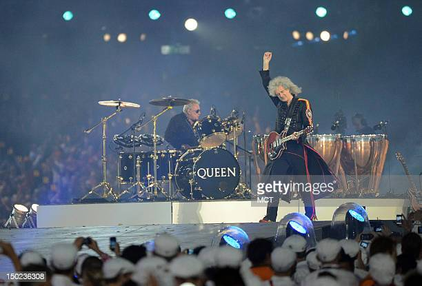 Queen guitarist Brian May and drummer Roger Taylor perform at Olympic Stadium in London England during the Closing Ceremony for the London 2012...