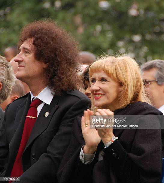 Queen guitarist Brian May and his wife actress Anita Dobson attend the unveiling of Nelson Mandela's statue in Parliament Square on 29 August 2007 in...
