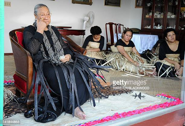 Queen Halaevala Mata'aho mourns the loss of her son King George Tupou V with Adi Litia Dugdale and Adi Elenoa Taito both daughters of Fiji's high...