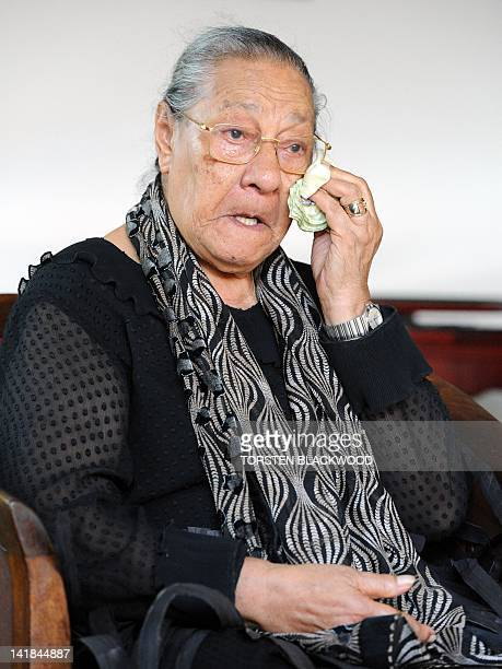 Queen Halaevala Mata'aho mourns the loss of her son King George Tupou V near the capital Nuku'alofa on March 25 2012 The death aged 63 of the...