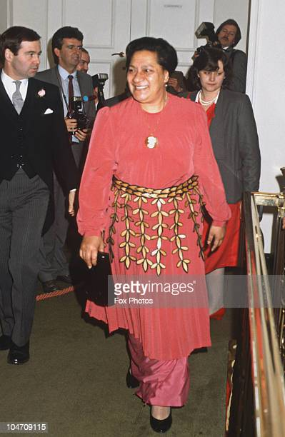 Queen Halaevalu Mata'aho 'Ahome'e of Tonga at the Women of the Year luncheon held at the Savoy Hotel in London England on October 28 1985