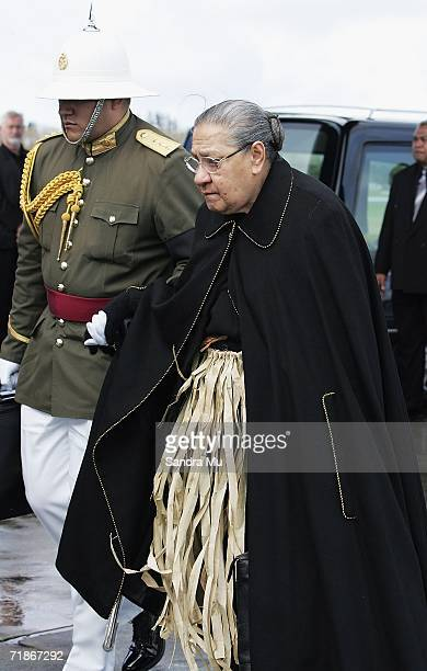 Queen Halaevalu Mata'aho wife of the late Tongan King Taufa'ahau Tupou IV is escorted to the plane at Whenuapai Airbase September 13 2006 in Auckland...