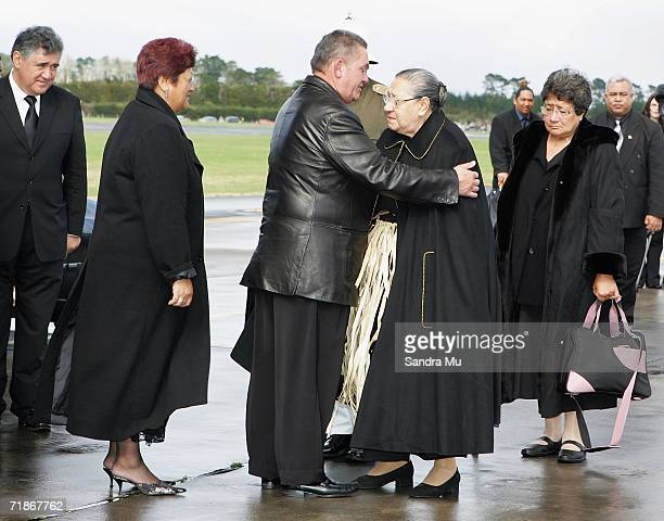 Queen Halaevalu Mata'aho wife of the late Tongan King Taufa'ahau Tupou IV is farewelled by Moari King Tuheitia Paki before taking the body of her...