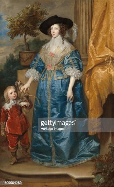 Queen Henrietta Maria with Sir Jeffrey Hudson, 1633. Artist Anthony van Dyck. .