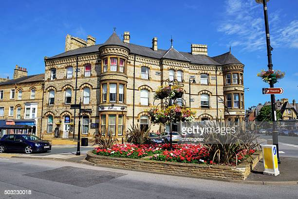 queen hotel in saltburn by the sea, north yorkshire - saltburn stock photos and pictures