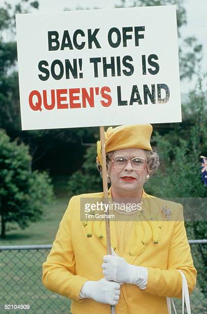 Queen Impersonator Protesting Against The Royal Visit In Australia On 25th Or 26th January 1994