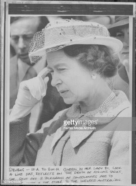Queen in her Lady Dr look a like hat reflects on the death of Anwar Sadat she sent off 2 telegrams of condolences one to ***** the other to the...