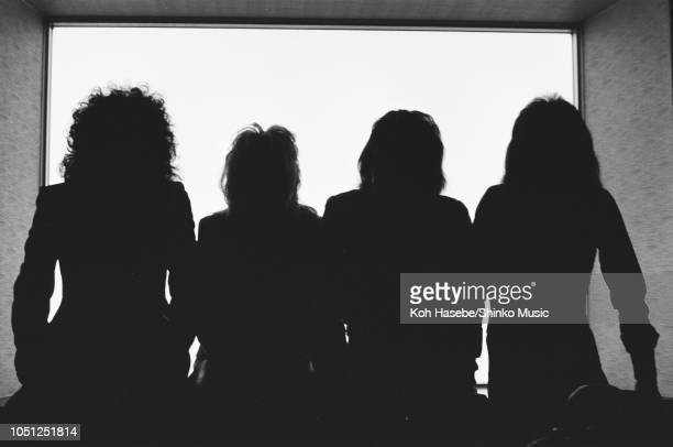 Queen in silhouette photo session for 'Music Life' magazine at Hotel Pacific Tokyo on their Night At The Opera Japan tour Tokyo Japan 21 March 1976...