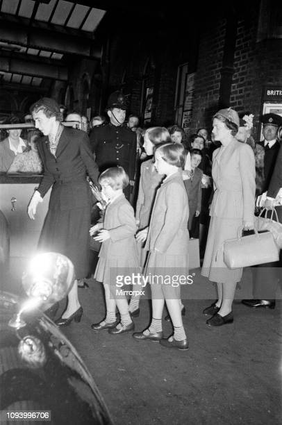 Queen Ingrid of Denmark and her three daughters arrive in London They are here for a three week holiday The Governess of the royal children is Miss...