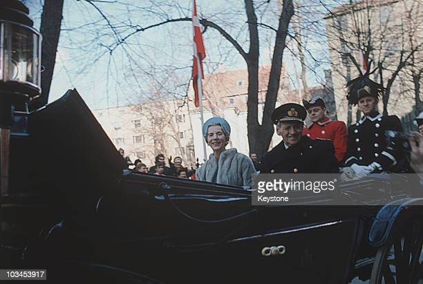 Queen Ingrid of Denmark and King Frederik IX in a carriage to mark the King's 70th birthday in Copenhagen on March 11 1969