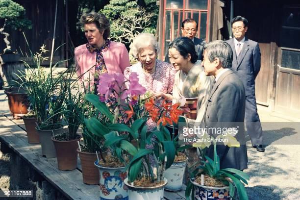 Queen Ingrid of Denmark and Princess AnneMarie of Denmark talk with Emperor Akihito and Empress Michiko at the Imperial Palace on April 19 1991 in...