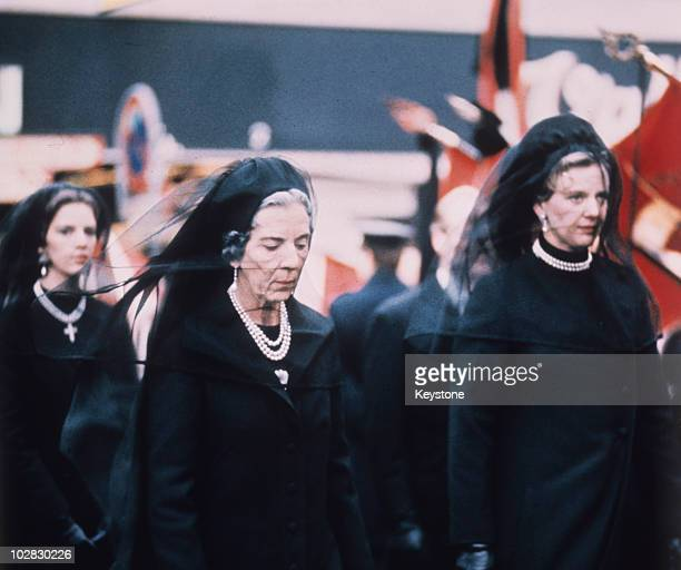 Queen Ingrid of Denmark Crown Princess Margrethe and Queen AnneMarie of Greece at the funeral of King Frederick IX of Denmark at Roskilde Cathedral...