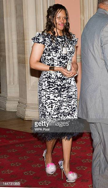 Queen inkhosikati lambikiza of Swaziland arrives at a lunch for Sovereign Monarch's held in honour of Queen Elizabeth II's Diamond Jubilee at Windsor...
