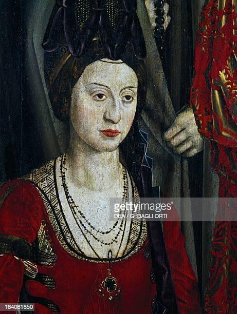 Queen Isabella of Portugal, ca 1460, detail of the altarpiece of San Vincenzo by Nuno Goncalves . Lisbon, Museu Nacional De Arte Antiga
