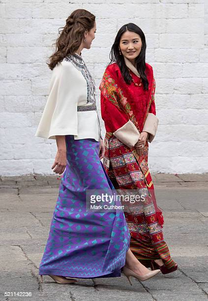 Queen Jetsun Pema and Catherine Duchess of Cambridge after a Ceremonial Welcome and Audience at TaschichhoDzong on April 14 2016 in Thimphu Bhutan