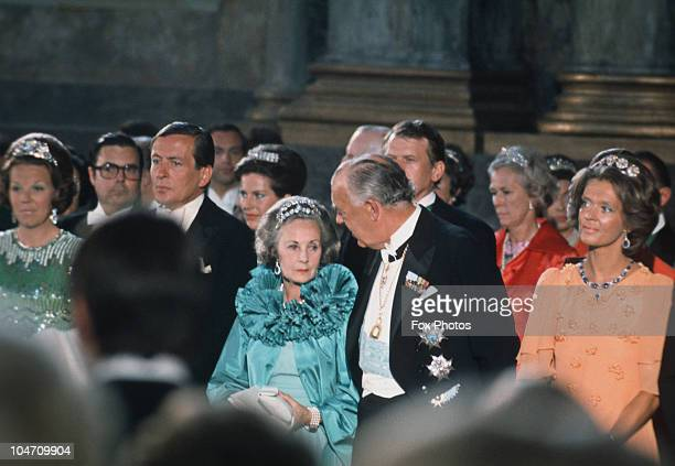 Queen Juliana and Prince Bernhard of the Netherlands at the wedding of Princess Christina of Sweden and Tord Magnuson held at the chapel at the Royal...