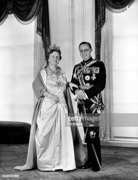 Queen Juliana of the Netherlands and her consort Prince Bernhard are seen in a picture taken by Max Koot in connection with the Queen's 12year...