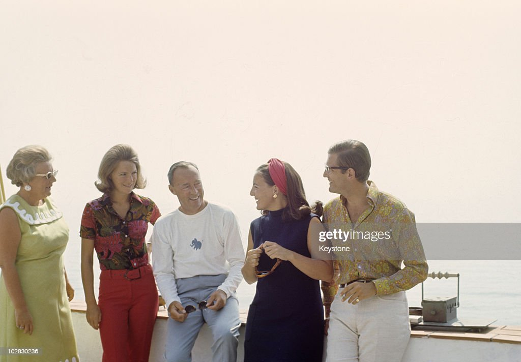 Queen Juliana of the Netherlands (1909-2004), and Prince Bernhard of the Netherlands (1911-2004) with their daughters, Princess Irene and Princess Magriet and Magriet's husband Pieter van Vollenhoven at Porto Ercole, Italy, 1969.