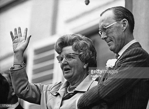 Queen Juliana of the Netherlands and Prince Bernhard on the balcony at Soestdijk Palace during celebrations of the queen's birthday, Utrecht,...
