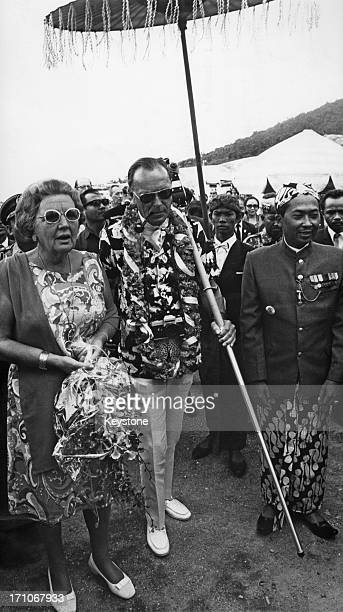 Queen Juliana of the Netherlands andPrince Bernhard at the dormant volcano Tangkuban Perahu in Bandung, during their state visit to Indonesia, 1st...