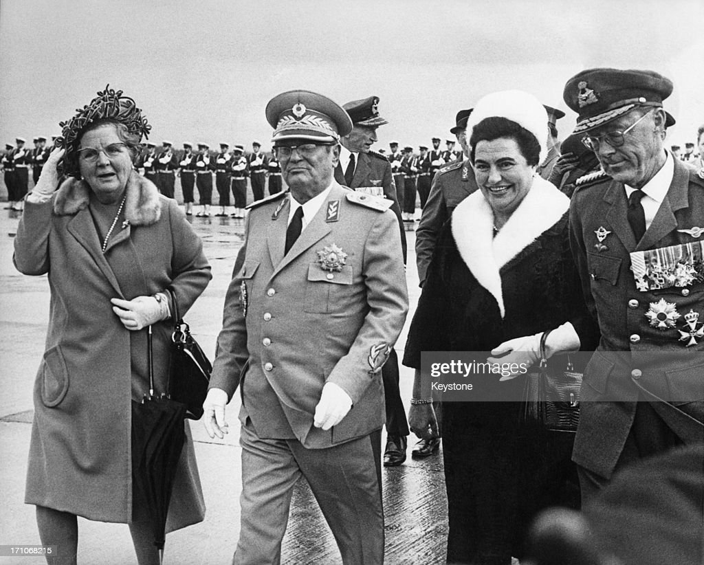 Queen Juliana of the Netherlands (1909 - 2004, left) andPrince Bernhard of the Netherlands (1911 - 2004, right) meeting Yugoslav leader Josip Broz Tito (1892 - 1980) and his wife Jovanka Broz at Ypenburg Airport, Netherlands, at the start of a state visit by Tito, 20th October 1970.