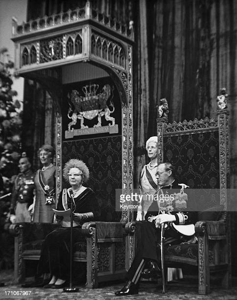 Queen Juliana of the Netherlands gives the Queen's Speech at the state opening of the Dutch Parliament in The Hague, 19th September 1967. On the...