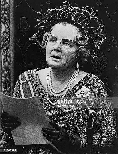 Queen Juliana of the Netherlands gives the Queen's Speech at the state opening of the Dutch Parliament in The Hague, 22nd September 1969.