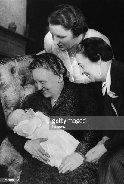 Queen Juliana of the Netherlands holding her daughter Princess Beatrix with her mother, the former Queen Wilhemina, and Princess Armgard , 1938.