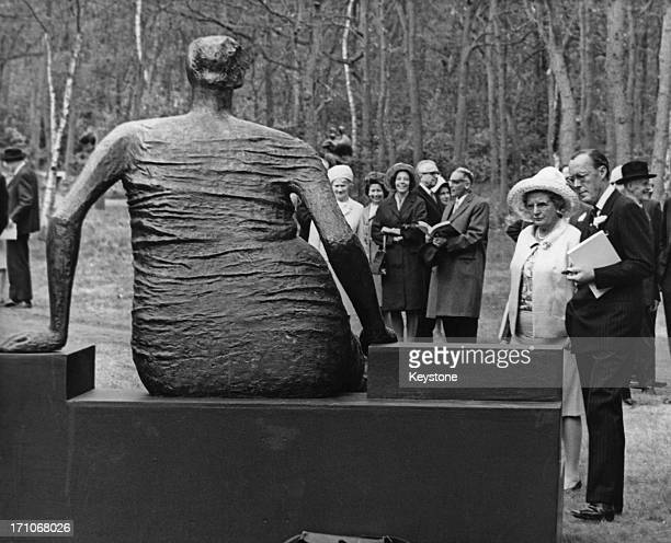 Queen Juliana of the Netherlands Prince Bernhard viewing a sculpture by Henry Moore at the Kroller-Muller Museum, in Otterlo Netherlands, 3rd May...
