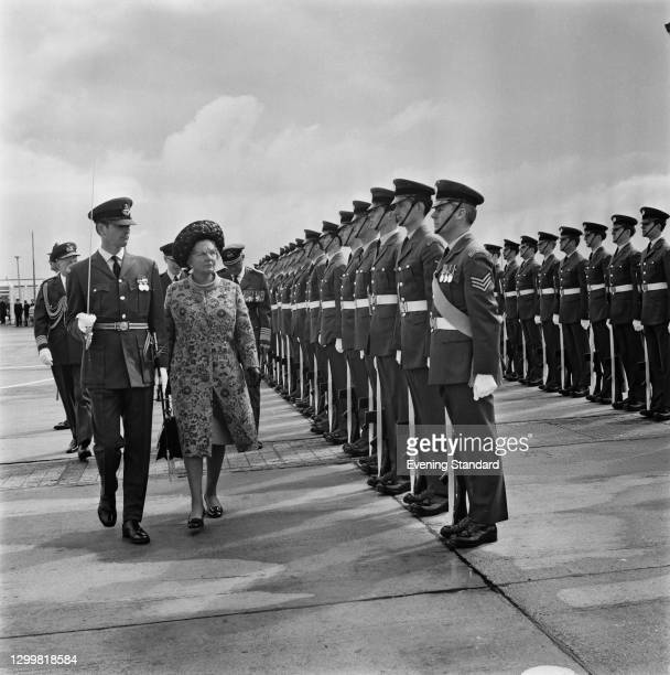 Queen Juliana of the Netherlands reviews British troops at the start of her state visit to the UK, 11th April 1972.