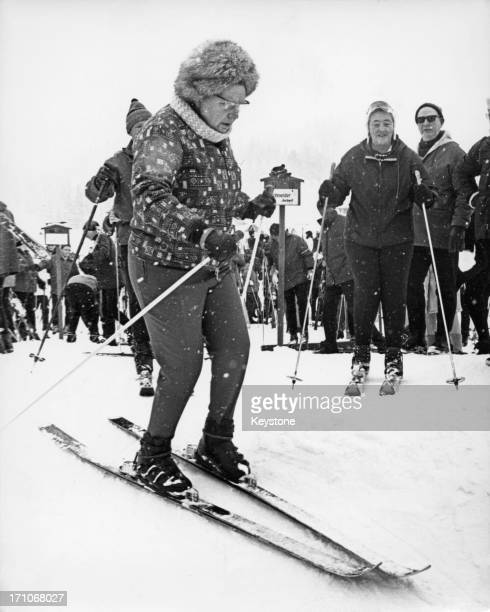 Queen Juliana of the Netherlands skiing during a holiday in Lech, Austria, 5th March 1968.