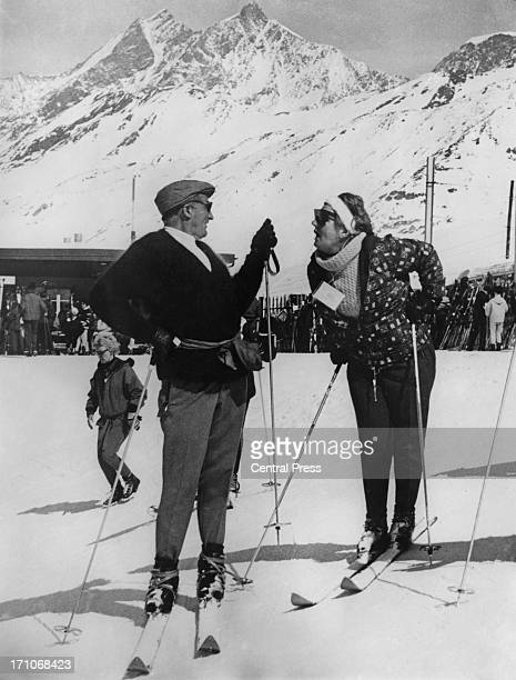 Queen Juliana of the Netherlands talking to a friend during a skiing holiday in Zermatt, Switzerland, March 1966.