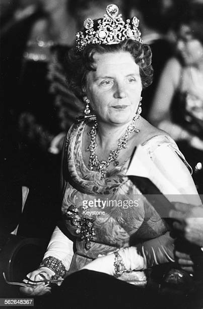 Queen Juliana of the Netherlands wearing a formal dress and crown at her birthday celebrations in 1962 Printed following the announcement of her...