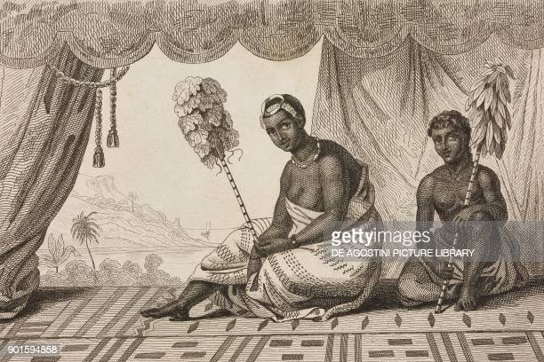Queen Ka'ahumanu Hawaii Islands engraving by Danvin and Laderer from Oceanie ou Cinquieme partie du Monde Revue Geographique et Ethnographique de la...