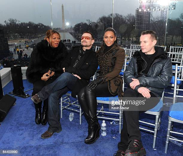 WASHINGTON JANUARY 18 *EXCLUSIVE* Queen Latifa Bono Beyonce and Larry Mullen Jr backstage at ÒWe are One The Obama Inaugural Celebration At The...