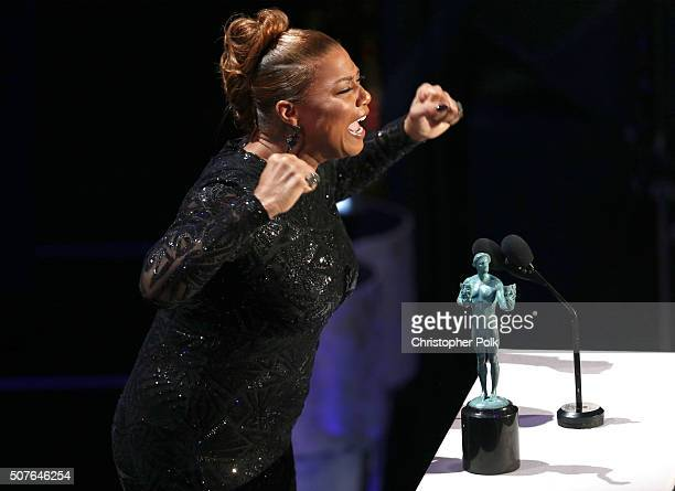 Queen Latifah accepts the Outstanding Performance by a Female Actor in a Miniseries or Television Movie award for Bessie onstage during The 22nd...