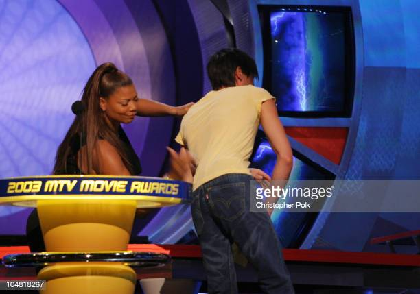 Queen Latifah and Adrien Brody during 2003 MTV Movie Awards Show at The Shrine Auditorium in Los Angeles California United States