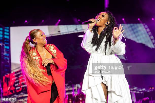 Queen Latifah and Brandy perform during Queen Latifah's 'Ladies First' night at the 2018 Essence Festival at the MercedesBenz Superdome on July 7...